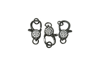 Gunmetal 18x10mm Micro Pave Lobster Clasp