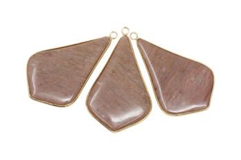 Rhodonite Rose Gold Edge 50x30mm Drop Pendant