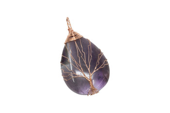 Amethyst Copper Wire Wrapped Tree Drop Pendant