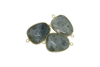 Labradorite Gold Edge 35x20mm Faceted Connector