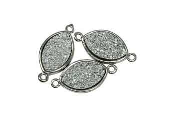 Silver Druzy 20mm Marquise Connector