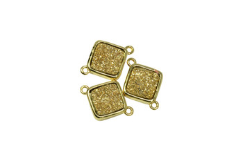 Gold Druzy 10mm Diagonal Square Connector