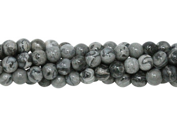 Grey Crazy Lace Agate Polished 6mm Round