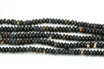 Natural Black Agate Polished 3x6mm Rondel