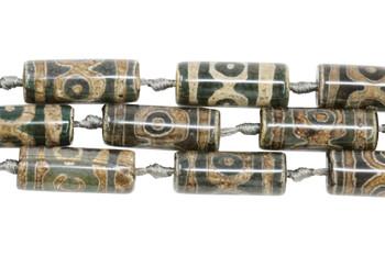 Tibetan Style Agate Polished 30x10mm Tube