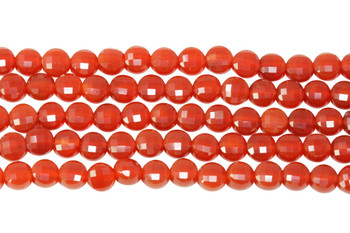 Carnelian Polished 6mm Faceted Coin