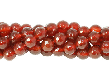 Carnelian Polished 8mm 128 Cut Faceted Round
