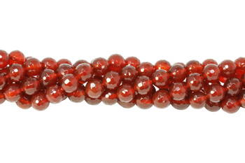 Carnelian Grade Polished 8mm 128 Cut Faceted Round