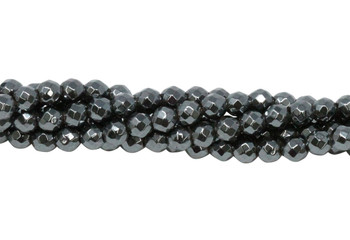 Hematite Polished 4mm Faceted Round