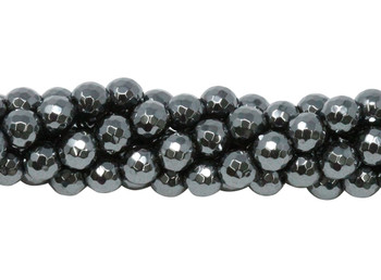 Hematite Polished 6mm 128 Cut Faceted Round
