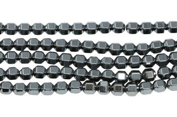 Hematite Polished 6mm Hex Bicone