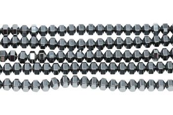 Hematite Polished 4x5mm Hex Rondel