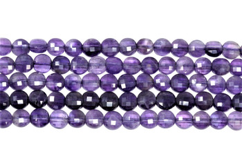 Amethyst A Grade Polished 6mm Faceted Coin