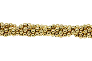 Gold Plated Hematite Polished 6mm Round