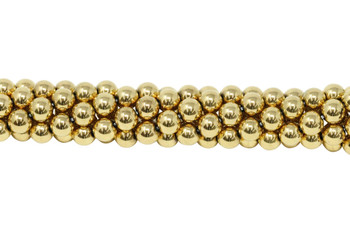 Gold Plated Hematite Polished 8mm Round