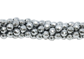 Platinum Plated Hematite Polished 4mm Faceted Round