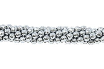 Platinum Plated Hematite Polished 6mm 128 Cut Faceted Round