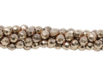 Rose Gold Plated Hematite Polished 4mm Faceted Round