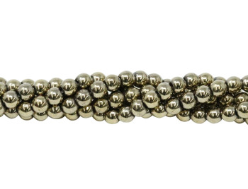 Pyrite Color Plated Hematite Polished 4mm Round