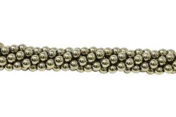 Pyrite Color Plated Hematite Polished 6mm Round