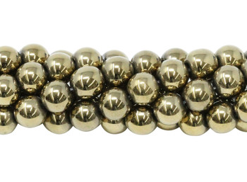 Pyrite Color Plated Hematite Polished 8mm Round