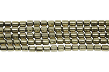 Pyrite Color Plated Hematite Polished 4mm Drum