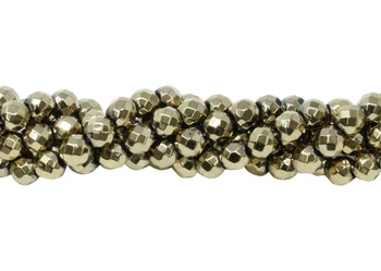 Pyrite Color Plated Hematite Polished 4mm Faceted Round