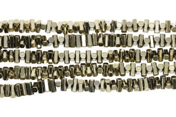 Pyrite Color Plated Hematite Polished 3x6mm Tube - Center Drilled