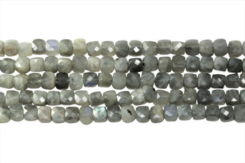 Labradorite Polished 4mm Faceted Cube