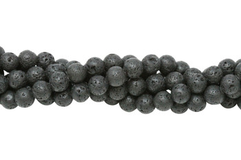 Black Lava Rock Coated Natural 8mm Round