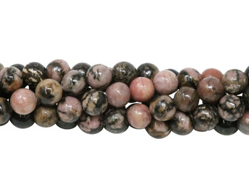 Black Veined Rhodonite Polished 6mm Round