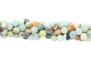 Amazonite Multi Color Polished 8mm Round - 2.2mm Large Hole