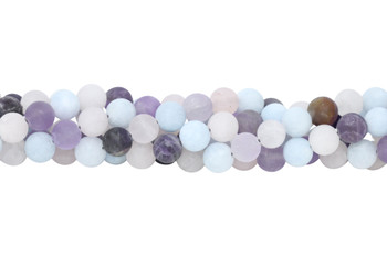 Mix of Amethyst, Rose Quartz, and Aquamarine Matte 10mm Round