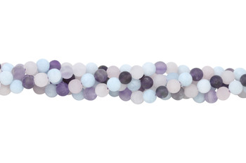 Mix of Amethyst, Rose Quartz, and Aquamarine Matte 6mm Round