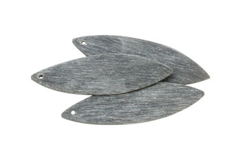 Buffalo Horn Matte 15x50mm Curved Leaf - Top Drilled