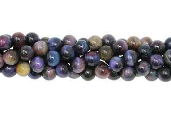 Tiger Eye Blue and Purple Dyed Polished 8mm Round
