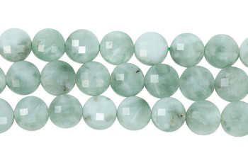 Green Angelite Polished 12mm Faceted Coin