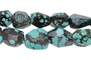 Hubei Turquoise Polished 20mm Faceted Nugget