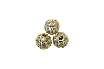 Gold 6mm Micro Pave Round Bead