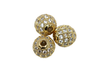 Gold 8mm Micro Pave Round Bead