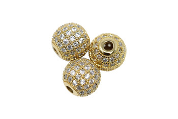 Gold 10mm Micro Pave Round Bead