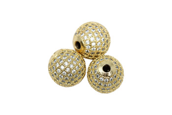 Gold 12mm Micro Pave Round Bead
