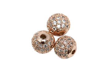 Rose Gold 8mm Micro Pave Round Bead