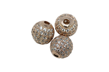 Rose Gold 10mm Micro Pave Round Bead