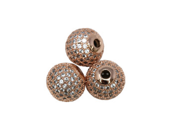 Rose Gold 12mm Micro Pave Round Bead