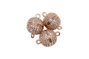 Rose Gold 10mm Micro Pave Round Magnetic Clasp