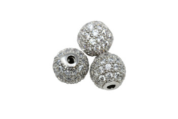Silver 8mm Micro Pave Round Bead