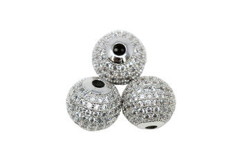 Silver 12mm Micro Pave Round Bead