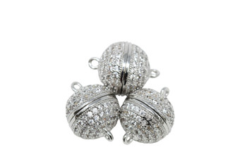 Silver 10mm Micro Pave Round Magnetic Clasp