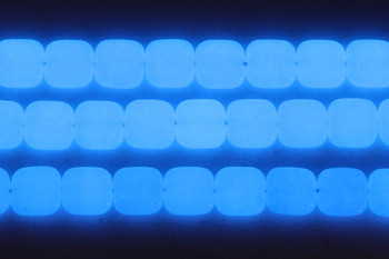 Blue Aragonite Polished 12mm Square - Glow in the Dark